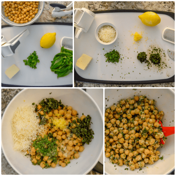 Lemon & Fresh Herb Chickpea Salad step by step collage